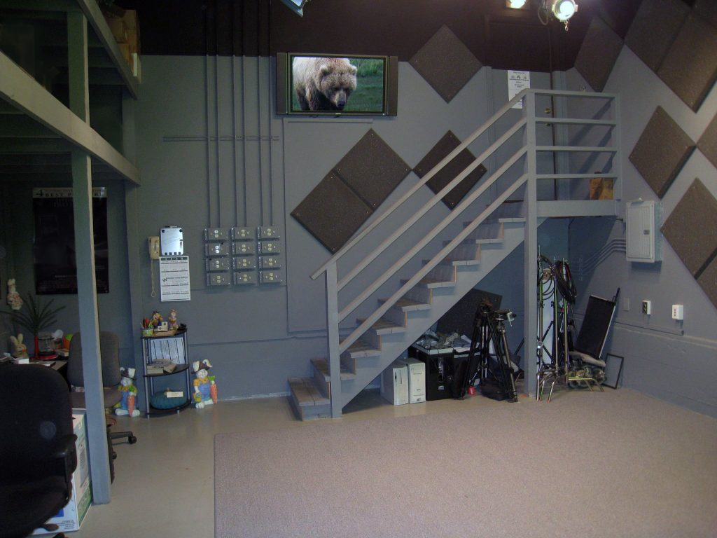 Overhead lighting and video monitoring in the Organic Media production studio